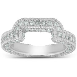 Womenand039s 3/4ct Vintage Curved Diamond Enhancer Ring Guard 14k White Gold