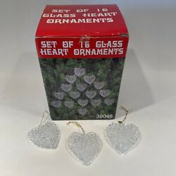 Vintage Set Of 16 Clear Glass Spun Heart Shaped Christmas Valentines Ornaments