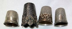 Lot Of 4 Antique Vintage Old Sewing Thimbles 2 Sterlingflowers Ornate Fancy