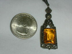 Antique Jmp Sterling Silver Amber Glass Pendant W/ Marcasites