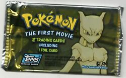 Pokemon The First Movie Topps Trading Card Sealed Pack 8 Cards 1998 Foil Card