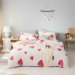 OTOB Strawberry Duvet Cover Kawaii Bedding Sets Twin for Girls Teen Adult Smo...