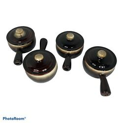 Set Of 4 Pfaltzgraff French Onion Soup Bowls Brown And Cream Glaze With Lids Usa