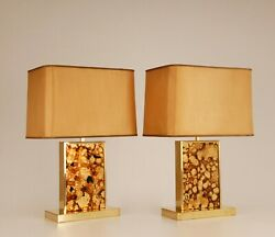 Mid Century Hollywood Regency Brass And Glass Table Lamps Vintage Bagues 70s