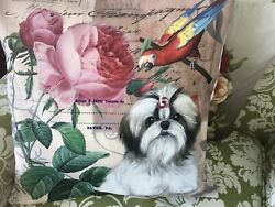 Shih Tzu Hand Painted Roses Pillow