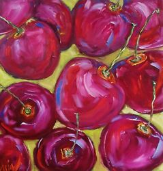 Oil Original Painting On Canvas Still Life Cherries Size 12x12 Inches