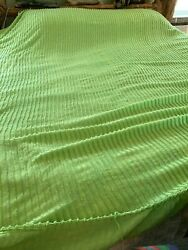 Vintage Chenille Bedspread Lime Green Stripe Cutter Fabric W Some Fringe 83 X 98