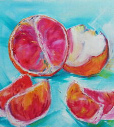 Oil Original Painting On Canvas Still Life Citrus Size 10x10 Inches