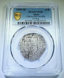 Pcgs Vf-30 1595 Spanish Silver 4 Reales Philip Ii 1500s Colonial Pirate Cob Coin