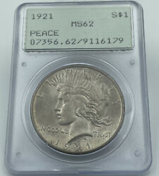 1921 Pcgs Ms62 Peace Silver Dollar High Relief Old Rattler Holder Pq Coin
