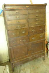 Large Wood Antique Jessen And Rosberg Watchmakers Cabinet 4and039 6 Tall 16 Drawers