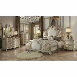Acme Picardy Eastern King Bed, Fabric And Antique Cultured Pearl White King