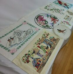 Floral X Stitch Finished Sampler Swan House Hummingbird Embroidery Vtg You Pick