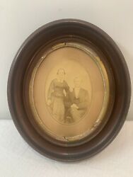 Antique 19th Century Wood Oval Frame W/ Photo