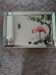 Vintage Turner Flamingo And Palm Tree Mirror With Covered Wood Frame 1950s