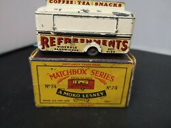 T222-matchbox Lesney No74a Whitemobile Refreshments Canteen With Original Box
