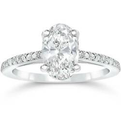 1 1/10ct Oval Diamond Vintage Engagement Ring Solitaire Antique 14k White Gold