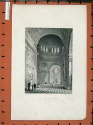 Old Antique Print Interior St Paul's Cathedral Northern Transept Church