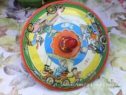 Vintage Late 50's/early 60's West German Tin Plate Spinning Top With Old Cars