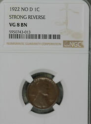 Nice Original Key Date 1922 No D Lincoln Wheat Cent - Ngc Vg8 Strong Rev