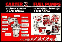 1950 Carter Fuel Pumps Store Sales Aide Counter Displays 2-page Vintage Print Ad