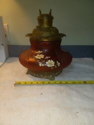 Rare Antique Consolidated Red Satin Oil Lamp