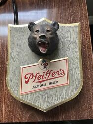 """Rare Vintage Pfeiffer's Beer Trophy Head Plaque Bear Hunting Sign 11.25""""x9.25"""""""