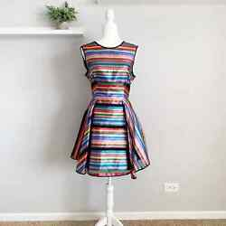 New Milly Balli Metallic Rainbow Fit And Flare Dress