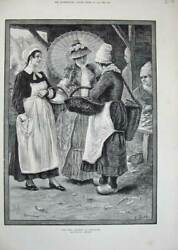 Old Antique Print 1884 Fish Market Honfleur Woman Baskets Sale Hennesey 19th