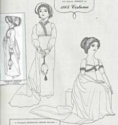 24antique French Fashion Doll@1805 Empire Bib Front Dress Hat Shoes Bag Pattern