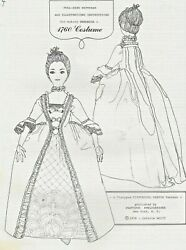 24antique French Fashion Lady Doll@1760 Sack/stomacher Dress Hoop Shoes Pattern