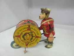 Vintage Tin Wind Up Marx Toy Let The Drummer Boy Play Toy Works 894-f