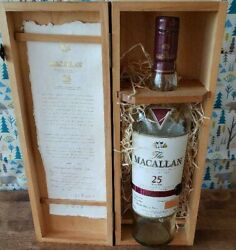 The Macallan Scotch Whiskey 25 Years Empty Bottle With Wooden Box Rare