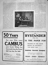 Old Antique Print 1907 Solitary Couple Men Table Cambus Bystander London 20th