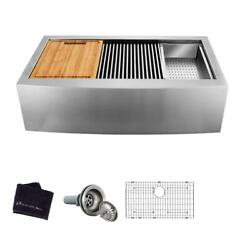 Glacier Bay All-in-one Apron-front Farmhouse 30 In. Single Bowl Workstation Sink
