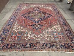 Antique Traditional Hand Made Vintage Oriental Wool Red Pink Carpet 337x248cm