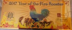 1/10 Gram Year Of The Fire Rooster 24k Aurum Gold Note, Golden Life Card, Bio