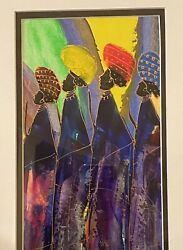 Watercolor Of African American Women Walking Artwork, Signed By Artist, Rare