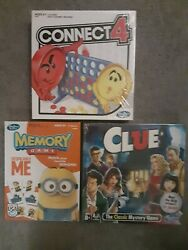 Hasbro 3 Game Collection Clue Connect 4 Memory Game New Factory Sealed