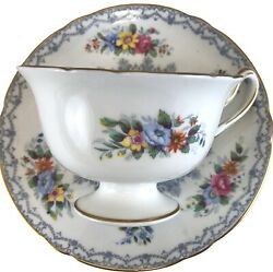 Vintage Shelley Crochet Teacup And Saucer White Bone China And Colorful Flowers