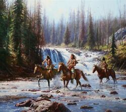 Martin Grelle Crows In The Yellowstone Canvas Giclee