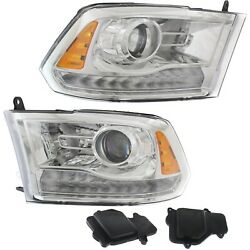 Headlight Set For 2016-2018 Ram 1500 Left And Right Chrome Housing Hid 2pc