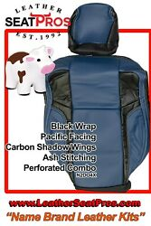 Leather Seat Covers Kit 2015-2021 Dodge Charger Pacific Carbon Black Combo Ash