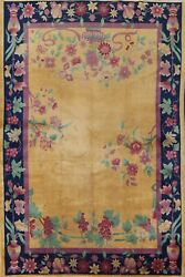Antique Vegetable Dye Art Deco Nichols Chinese Area Rug Hand-knotted Gold 9and039x12and039