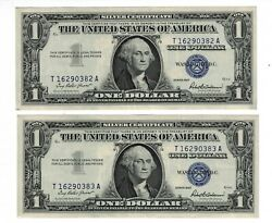 Lot Of 2 Consecutive Gem 1957 1 One Dollar Silver Certificate