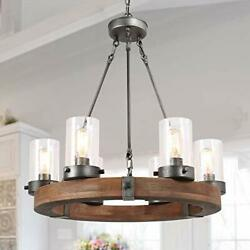 Lnc Farmhouse Chandelier Wood Round Wagon Wheel 6-light Fixture With Seeded Glas