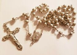 Atq All Sterling Silver Chaplain's Catholic Rosary Beads 26g19 Inches 2 Cross