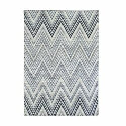 6and039x9and0391 Chevron Design Textured Wool And Pure Silk Hand Knotted Modern Rug R66855