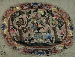 Tree Of Life Needlepoint Finished Petite Point Oval Mission Style Arts And Craft