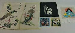 Crewel Embroidery Finished Peacock Asian Floral Panda Multicolor Silk Vtg Lot 6